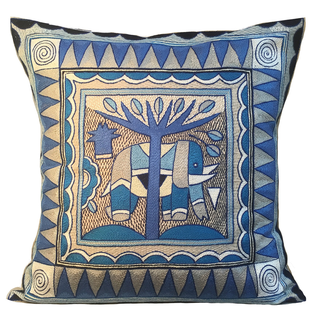 Delpht Large Elephant Hand-Embroidered  Cushion Cover