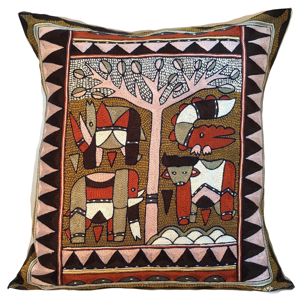 Namib Rust Animals under a Thorntree Hand-Embroidered Cushion Cover