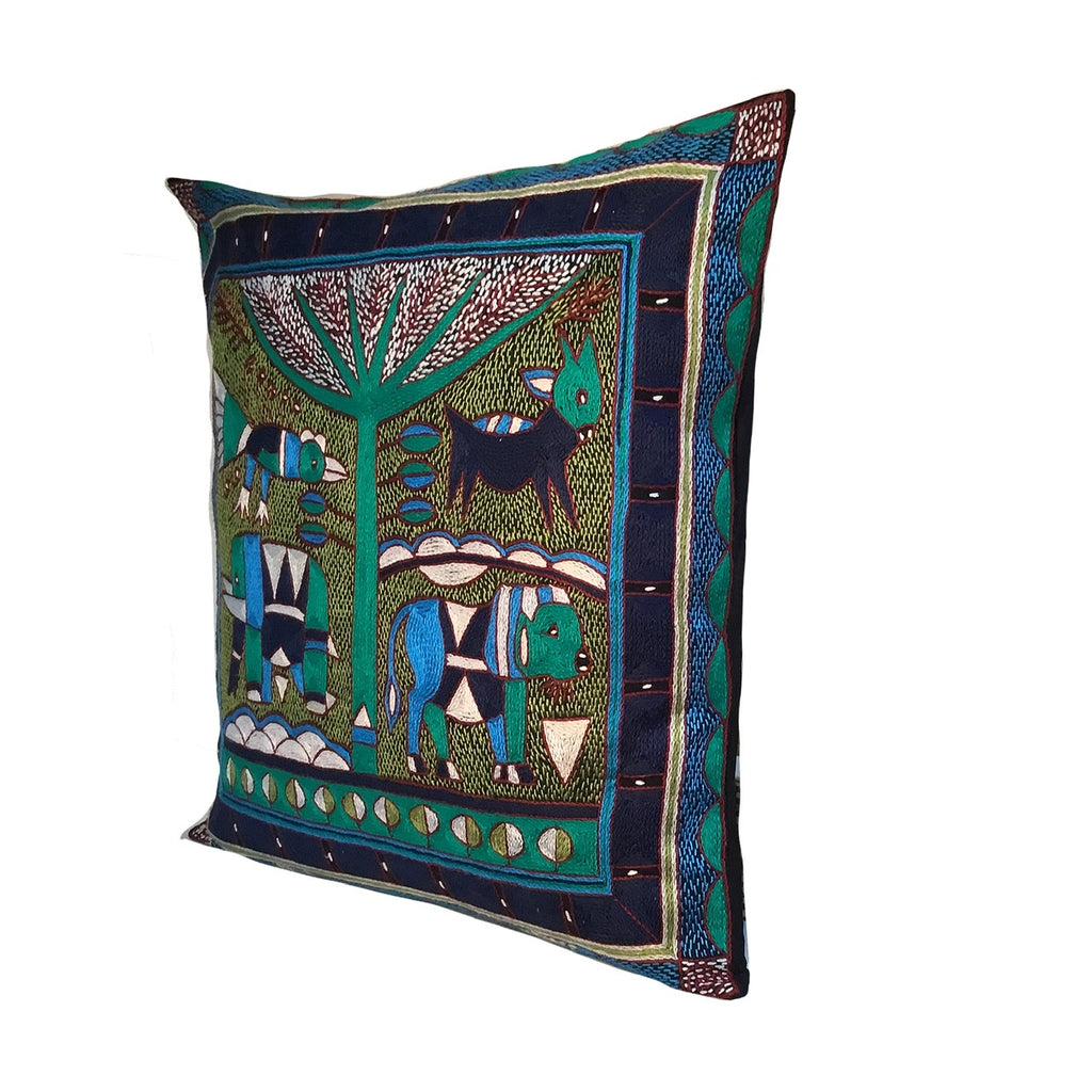 Turaco Lion Hunt Cushion Cover