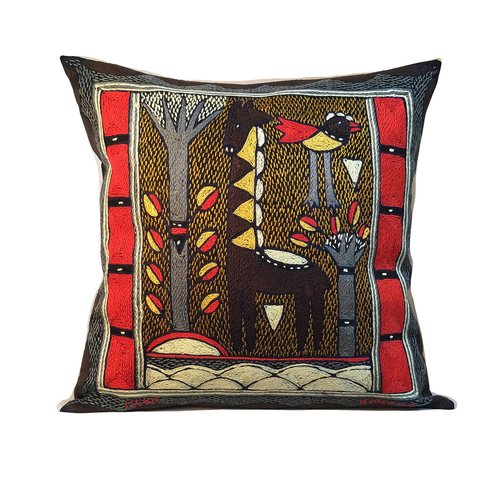 Royal Zulu Giraffe Standing Hand-Embroidered Cushion Cover