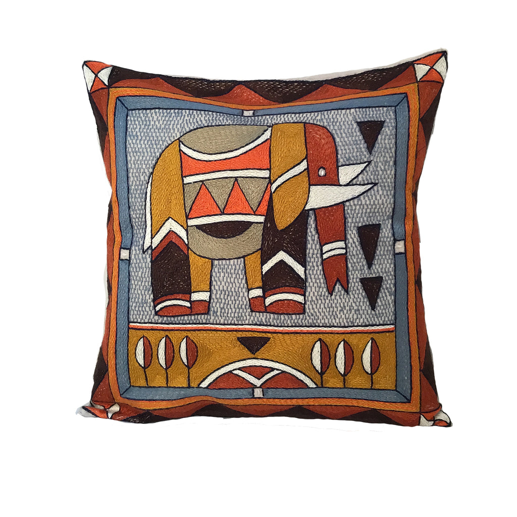 Namib Rust Elephant Hand-Embroidered Cushion Cover