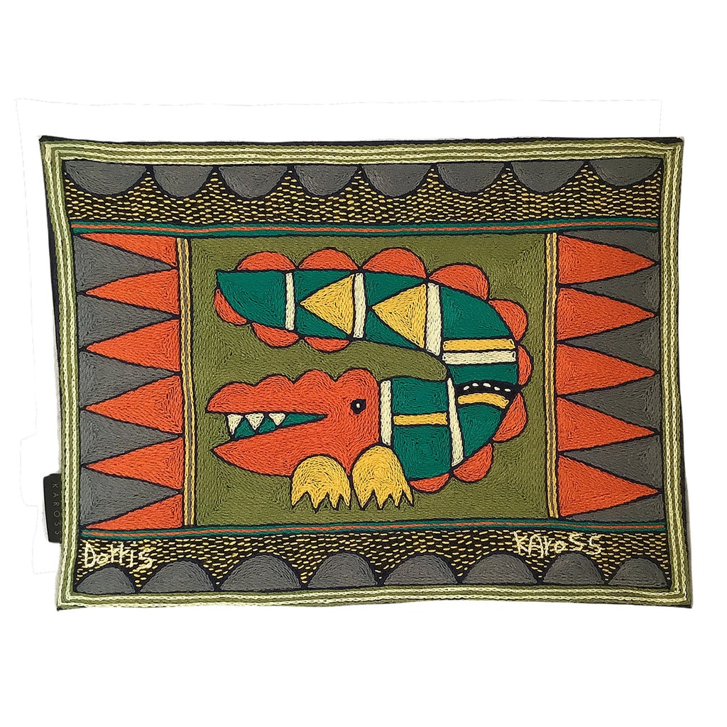 Bushveld Lush Crocodile Hand-Embroidered Padded Placemat
