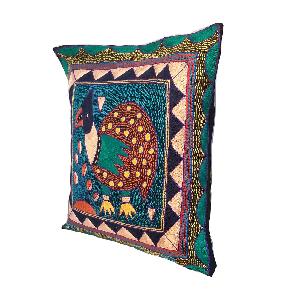 Happy Days Guinea Fowl Hand-Embroidered Cushion Cover