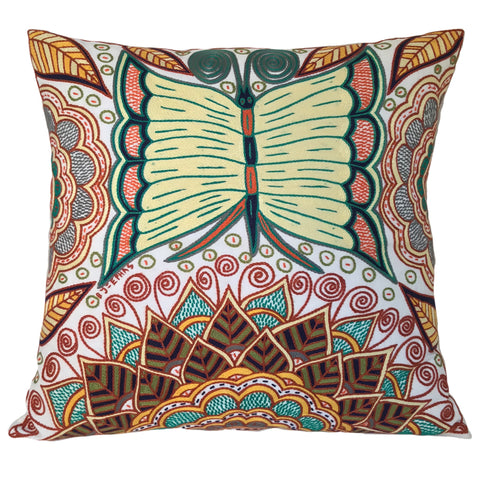 Bushveld Lush Butterfly on Flowers Cushion Cover