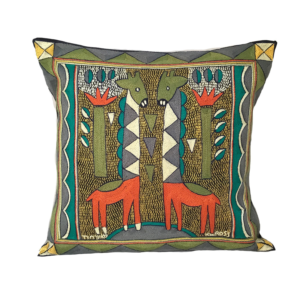 Bushveld Lush Giraffe Brothers Cushion Cover