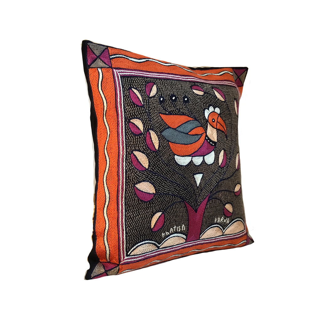 Ruby Sunset Bird in Bush Cushion Cover