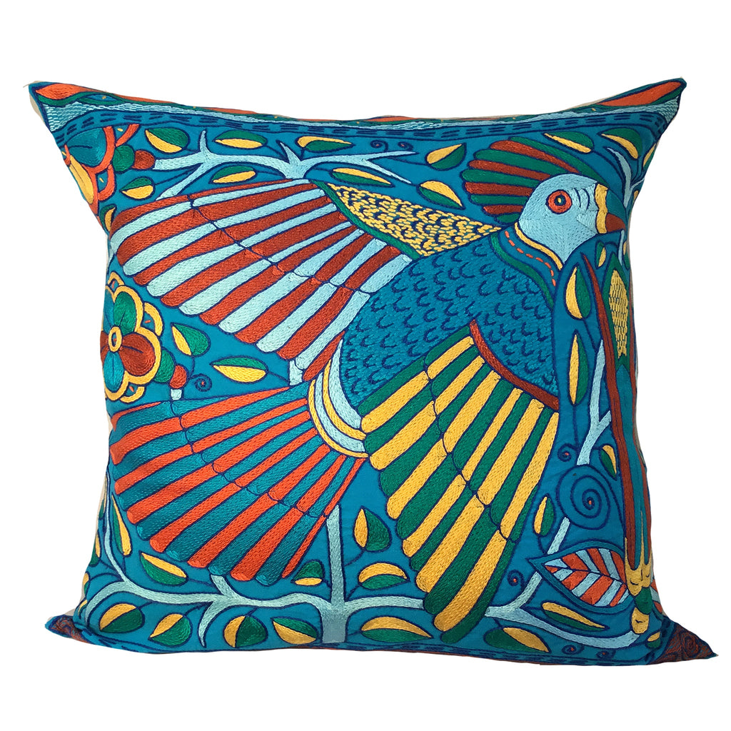 Valencia flying Bird and a Queen Flower A Cushion Cover