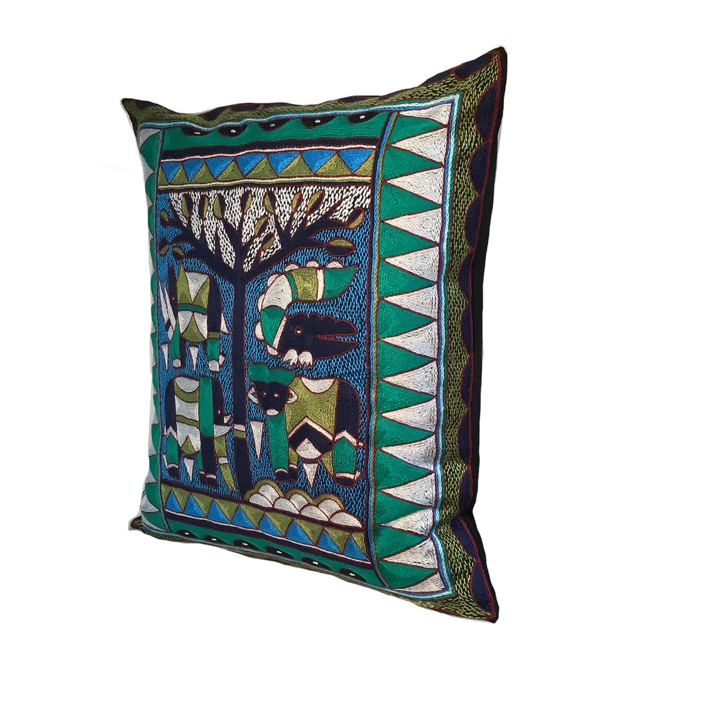 Turaco Animals under a Thorntree Cushion Cover