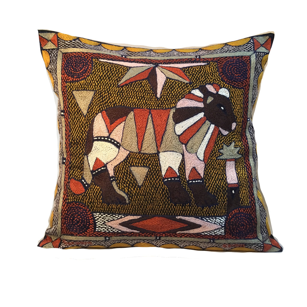 Namib Rust Lion Hand-Embroidered Cushion Cover