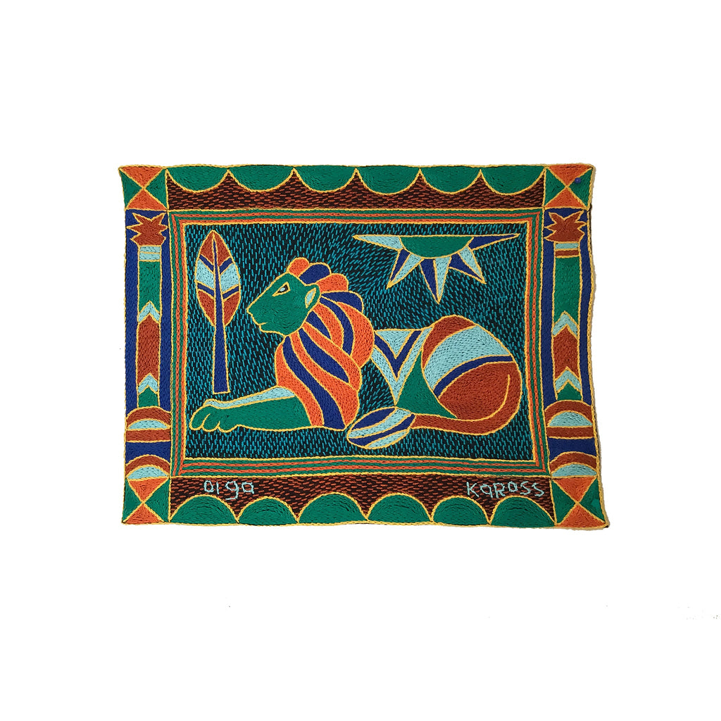 Valencia Lying Lion Hand-Embroidered Unpadded Placemat