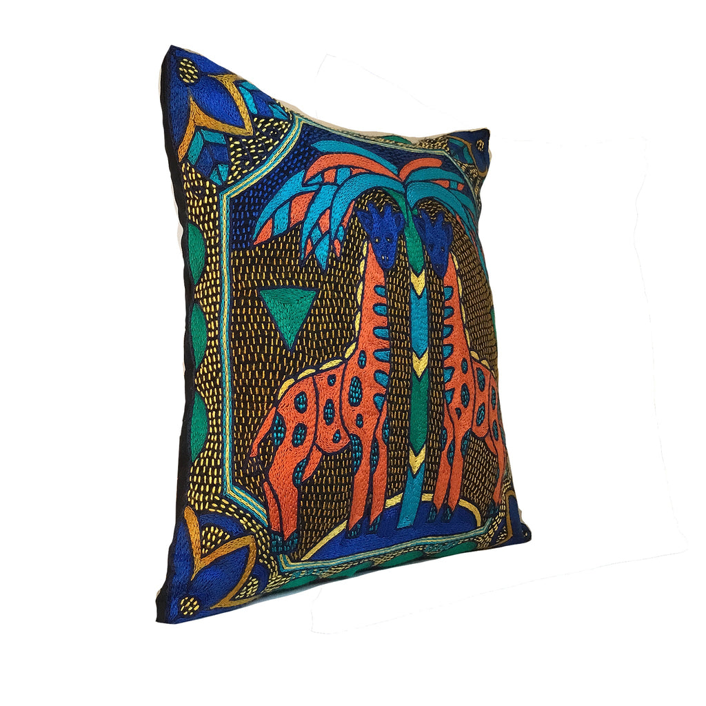 Marula's in Autumn Giraffe Brothers Hand-Embroidered Cushion Cover