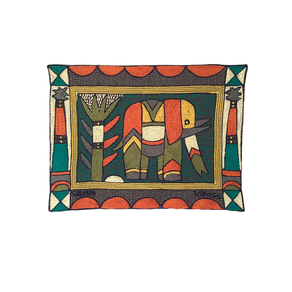 Bushveld Lush Elephant Cow Hand-Embroidered Placemat