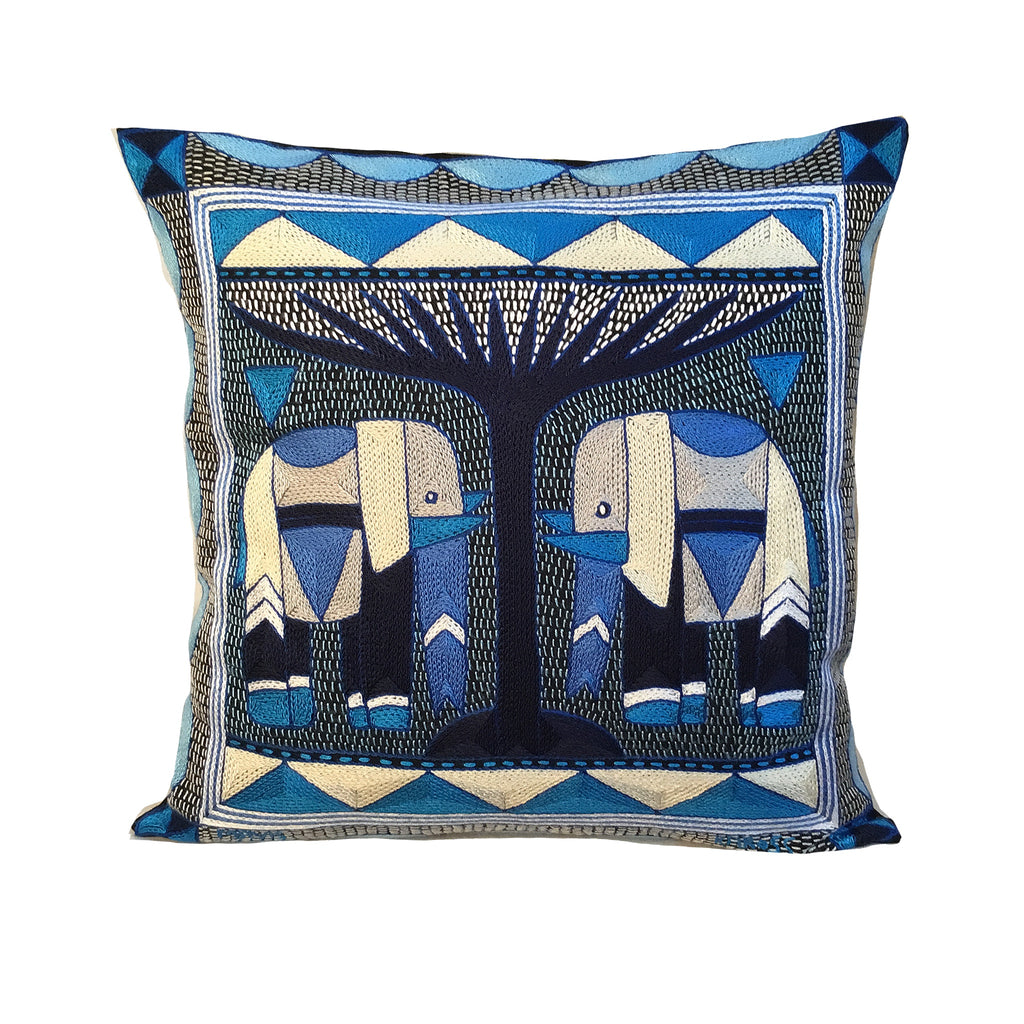 Delpht Elephant Pair Cushion Cover