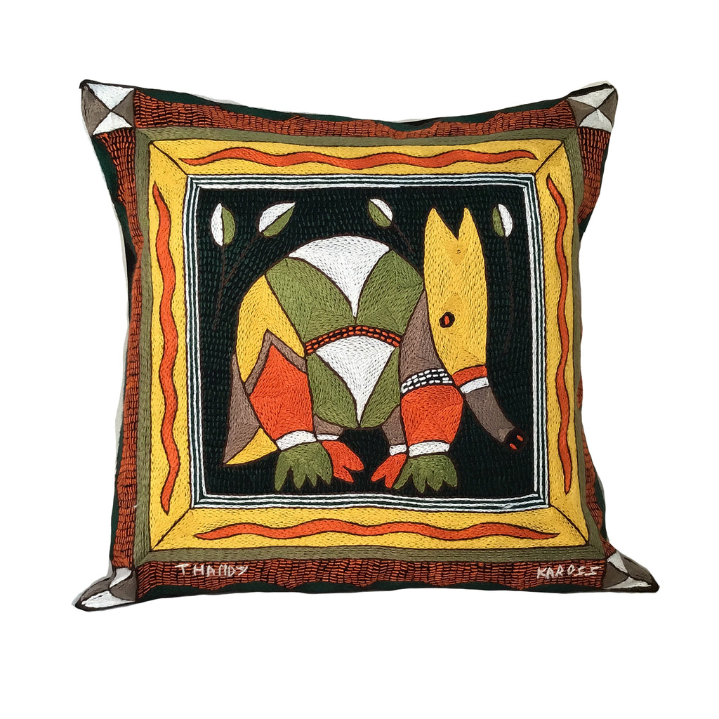 Bushveld Warmth Anteater Hand-Embroidered Cushion Cover