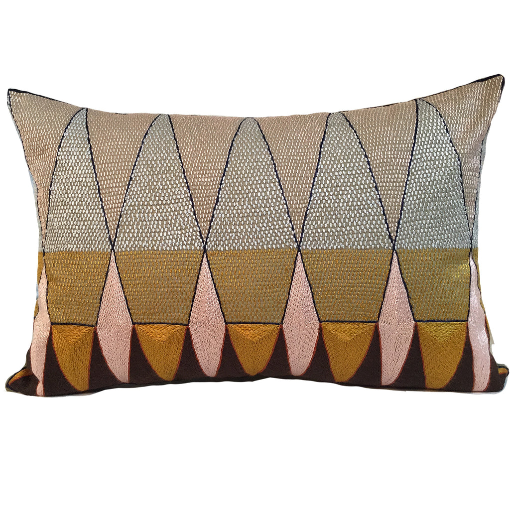 Namib Rust Geometric Hand-Embroidered Cushion Cover