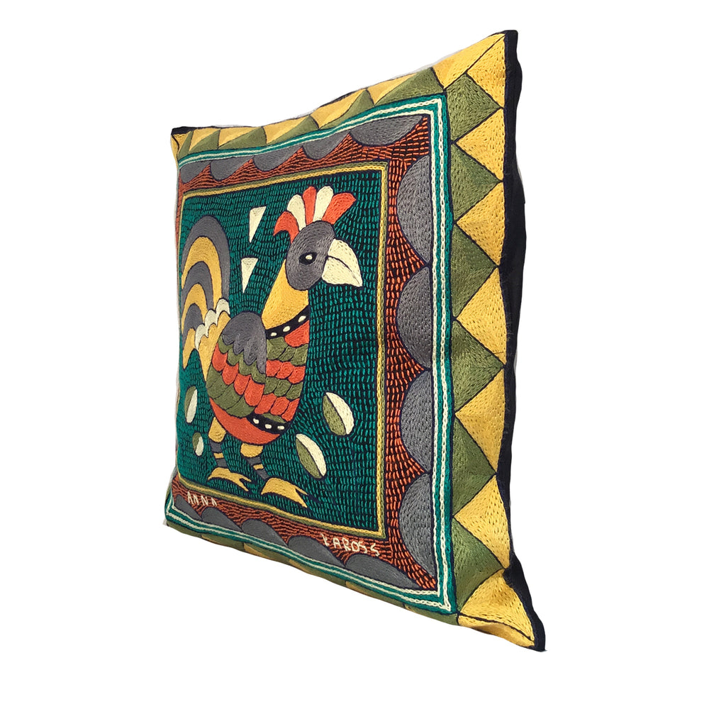 Bushveld Lush Rooster Hand-Embroidered  Cushion Cover