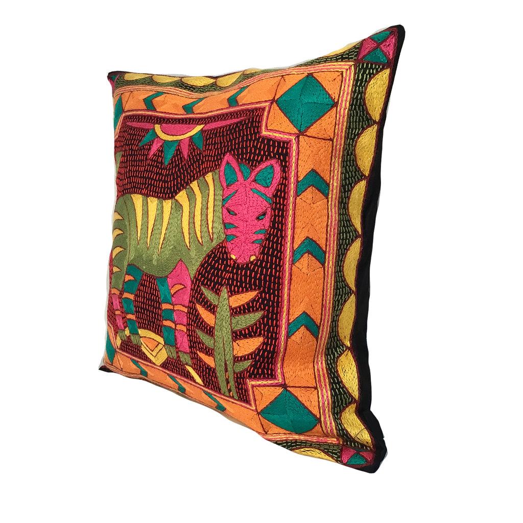 Shangaan Love Zebra Hand-Embroidered Cushion Cover