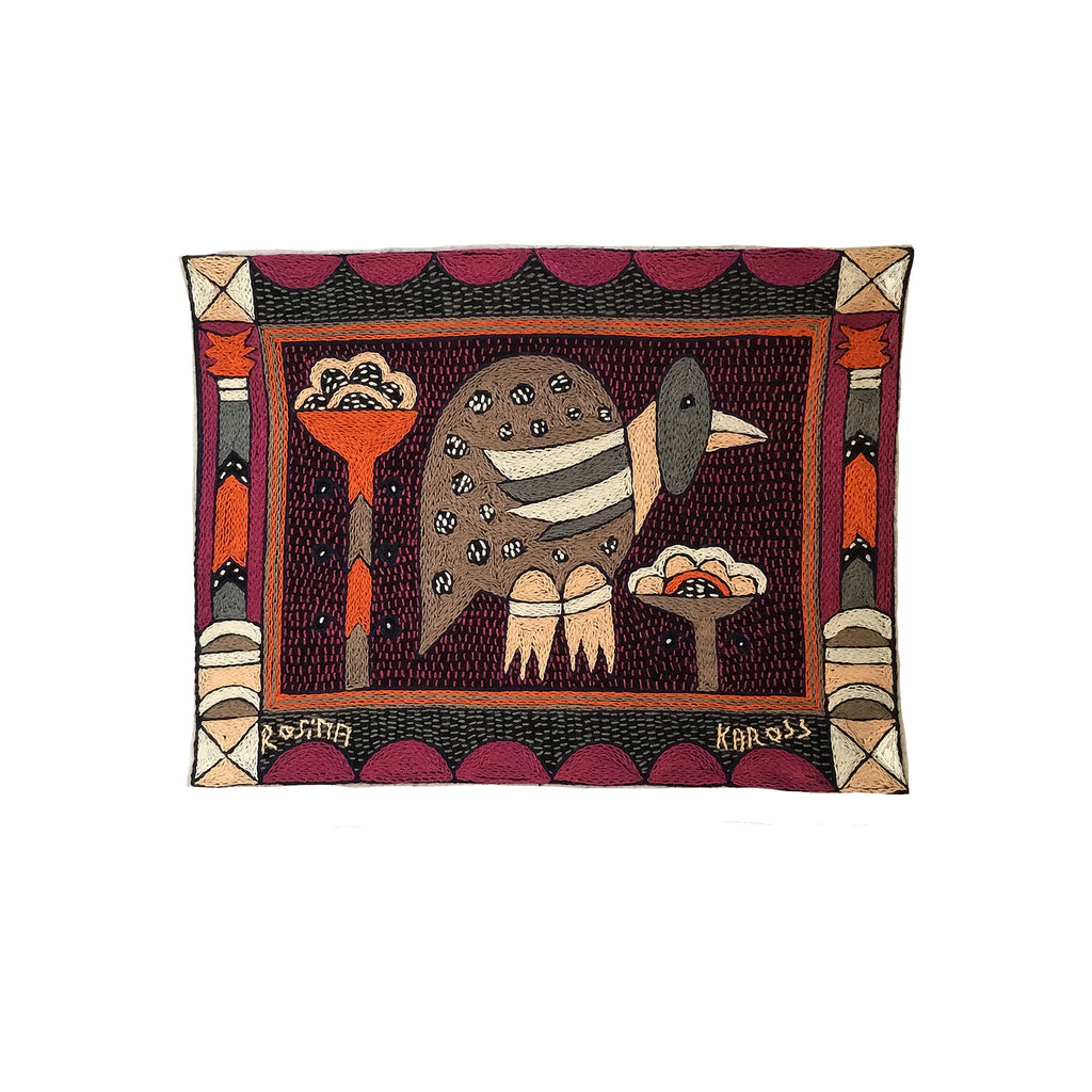 Ruby Sunset Guinea Fowl Hand-Embroidered Unpadded Placemat