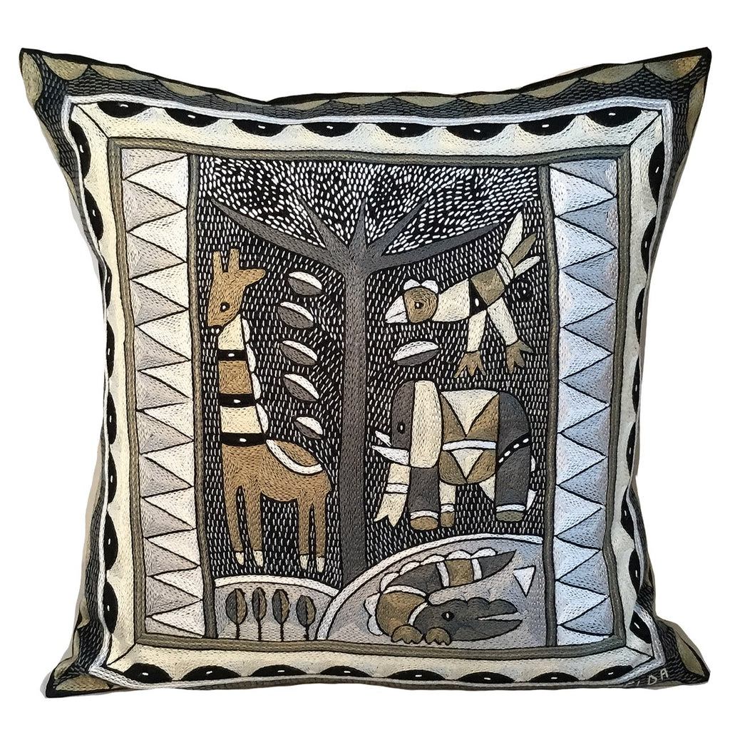 Scatterling of Africa Animals by the River Hand-Embroidered Cushion Cover