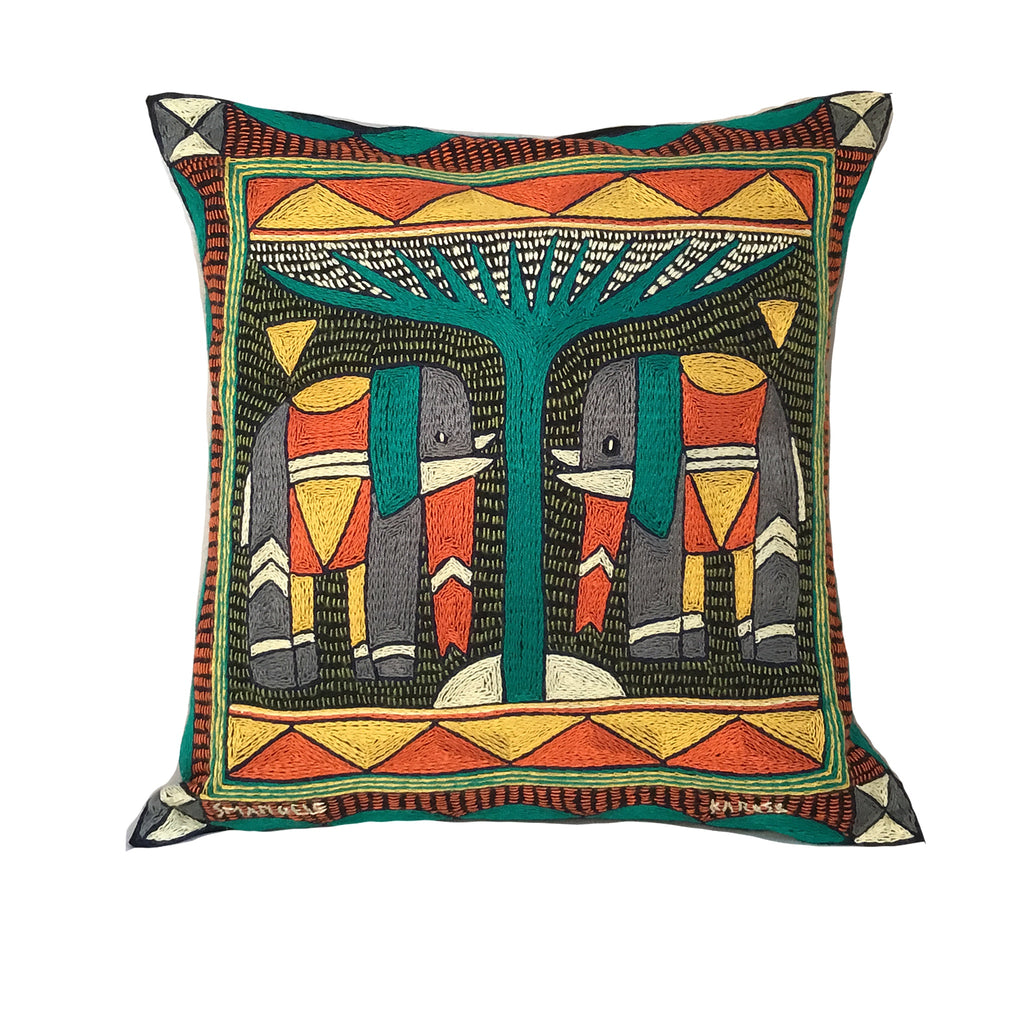 Bushveld Lush Elephant Pair Hand-Embroidered Cushion Cover