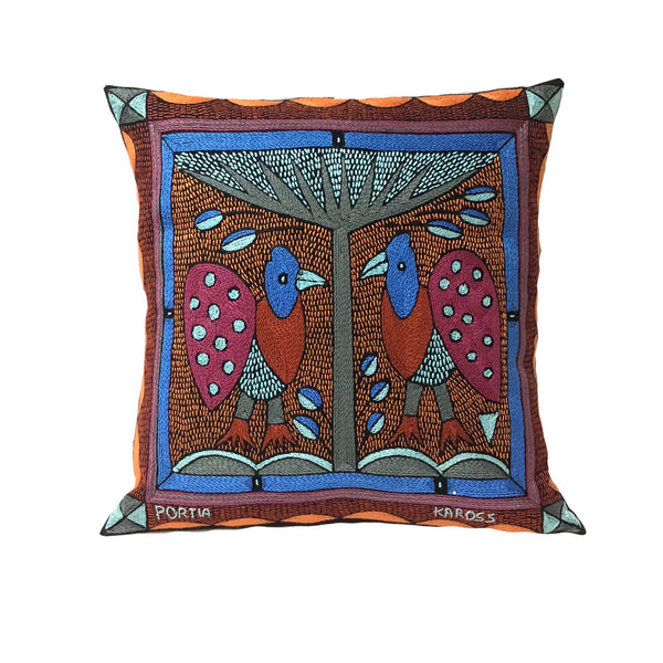 African Sky Blue Guinea Chat   Cushion Cover