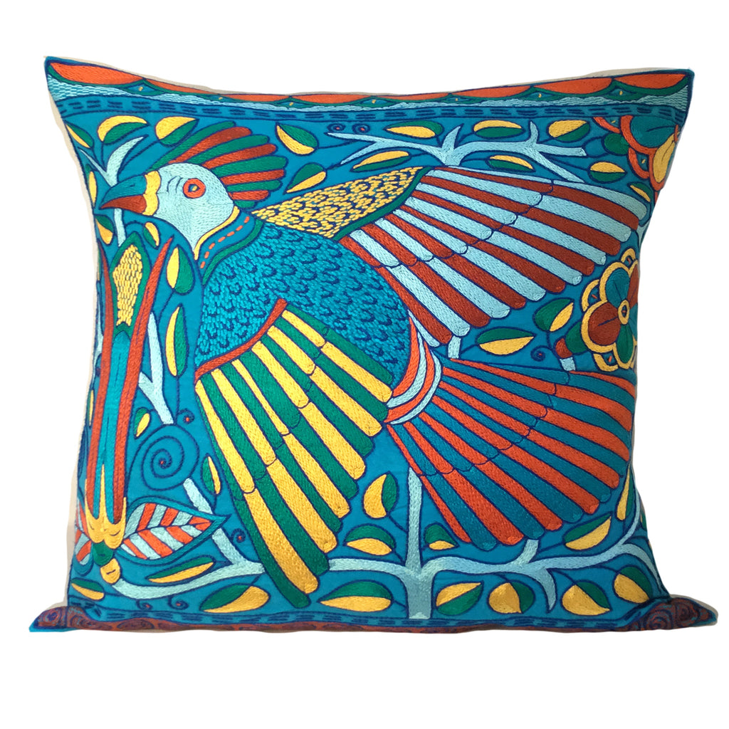 Valencia flying Bird and a Queen Flower B Cushion Cover