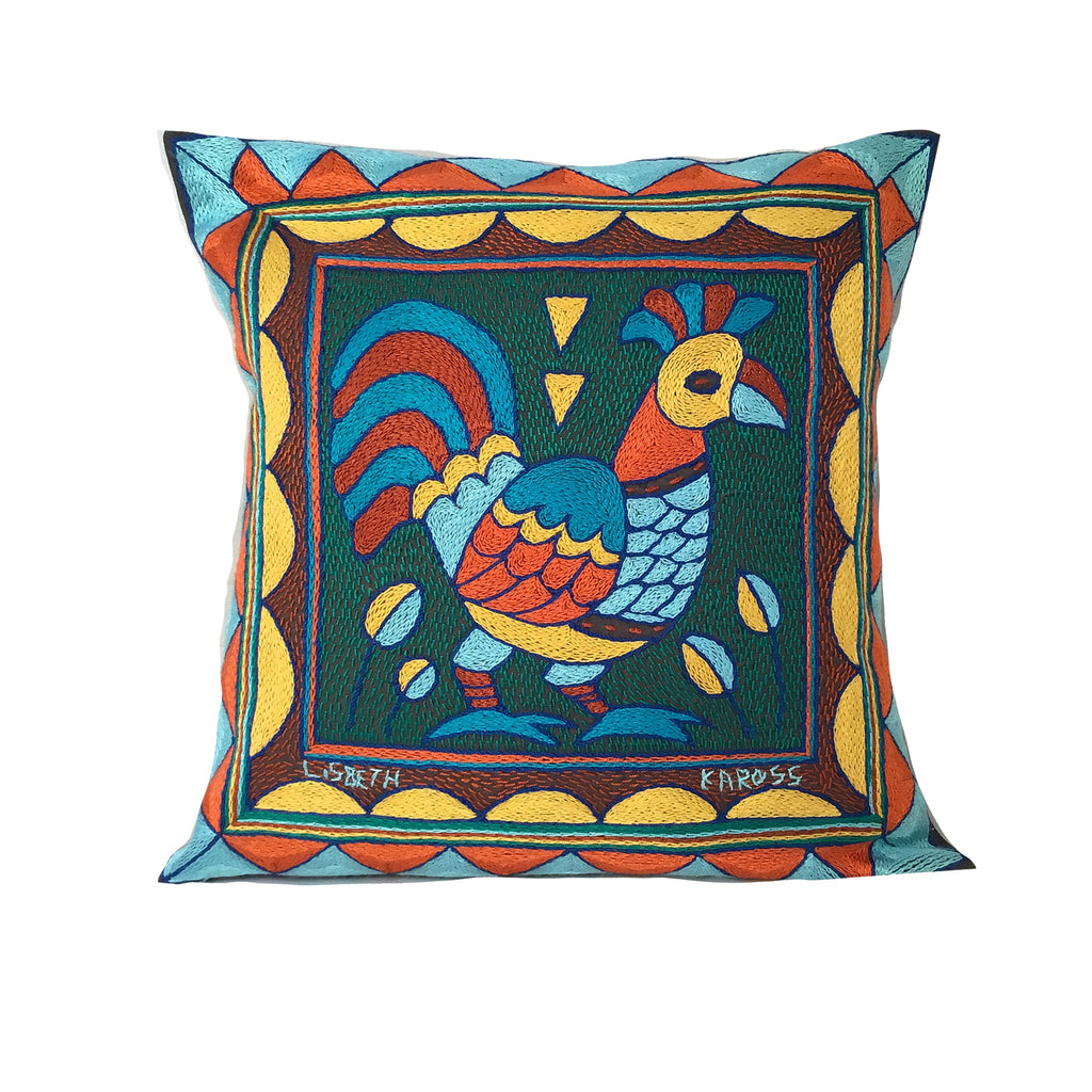 Valencia Rooster Hand-Embroidered Cushion Cover