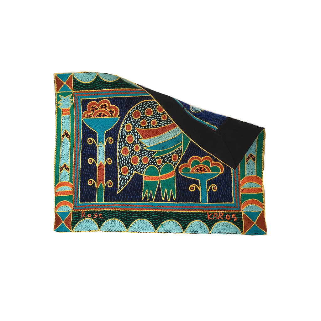 Valencia Guinea Fowl Hand-Embroidered Unpadded Placemat