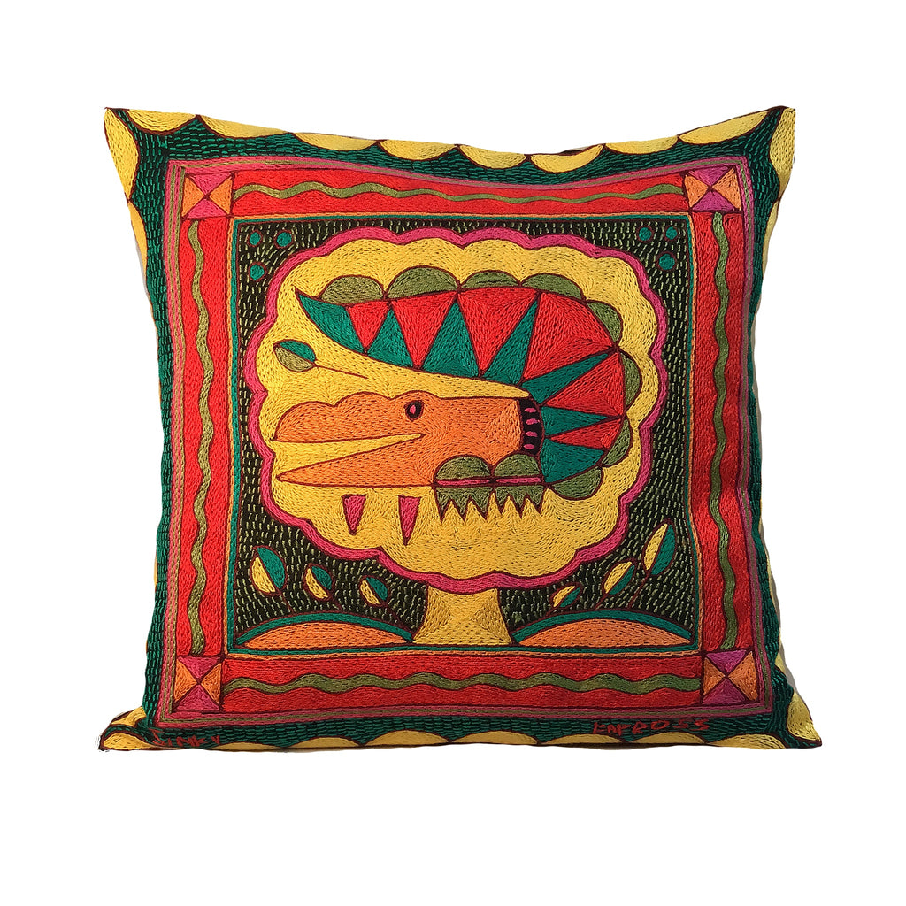 Shangaan Love Crocodile Love Hand-Embroidered Cushion Cover