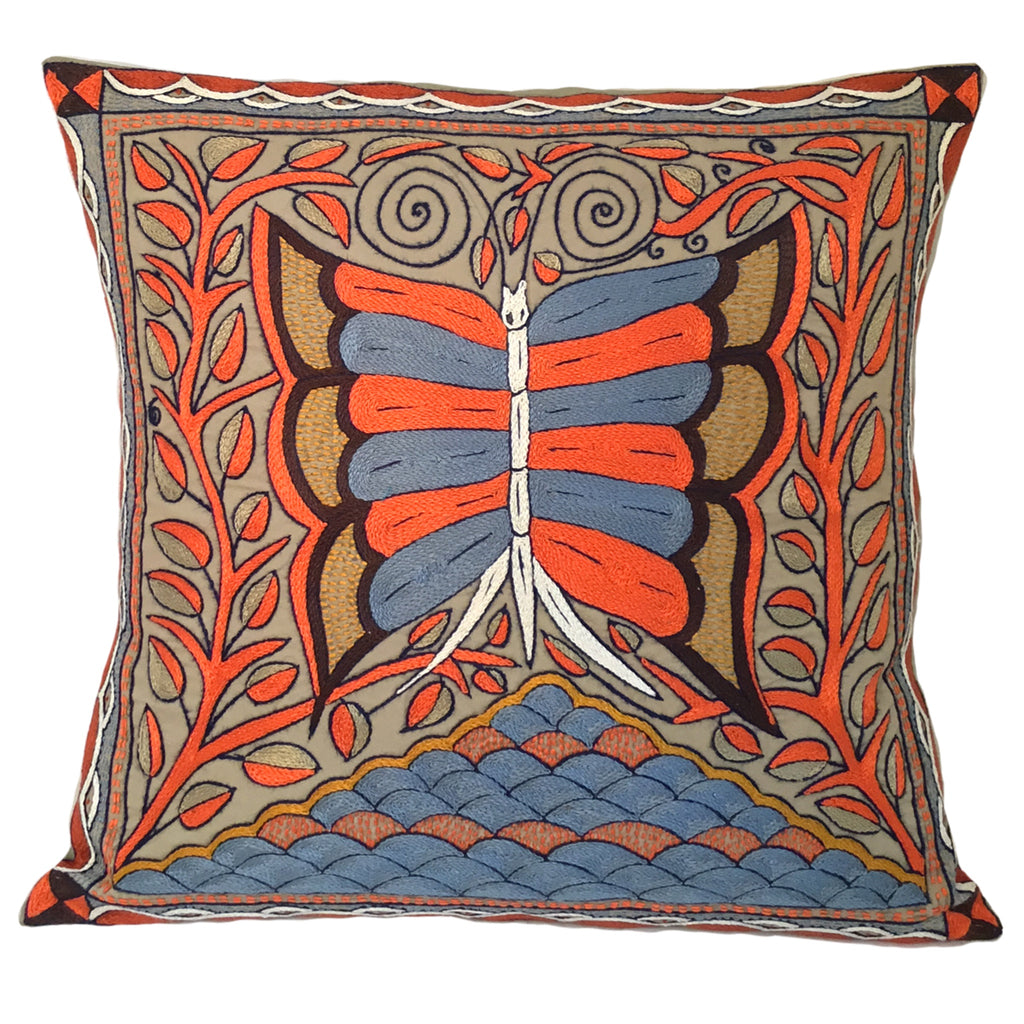 Namib Rust Butterfly in Mountain Tree Hand-Embroidered  Cushion Cover