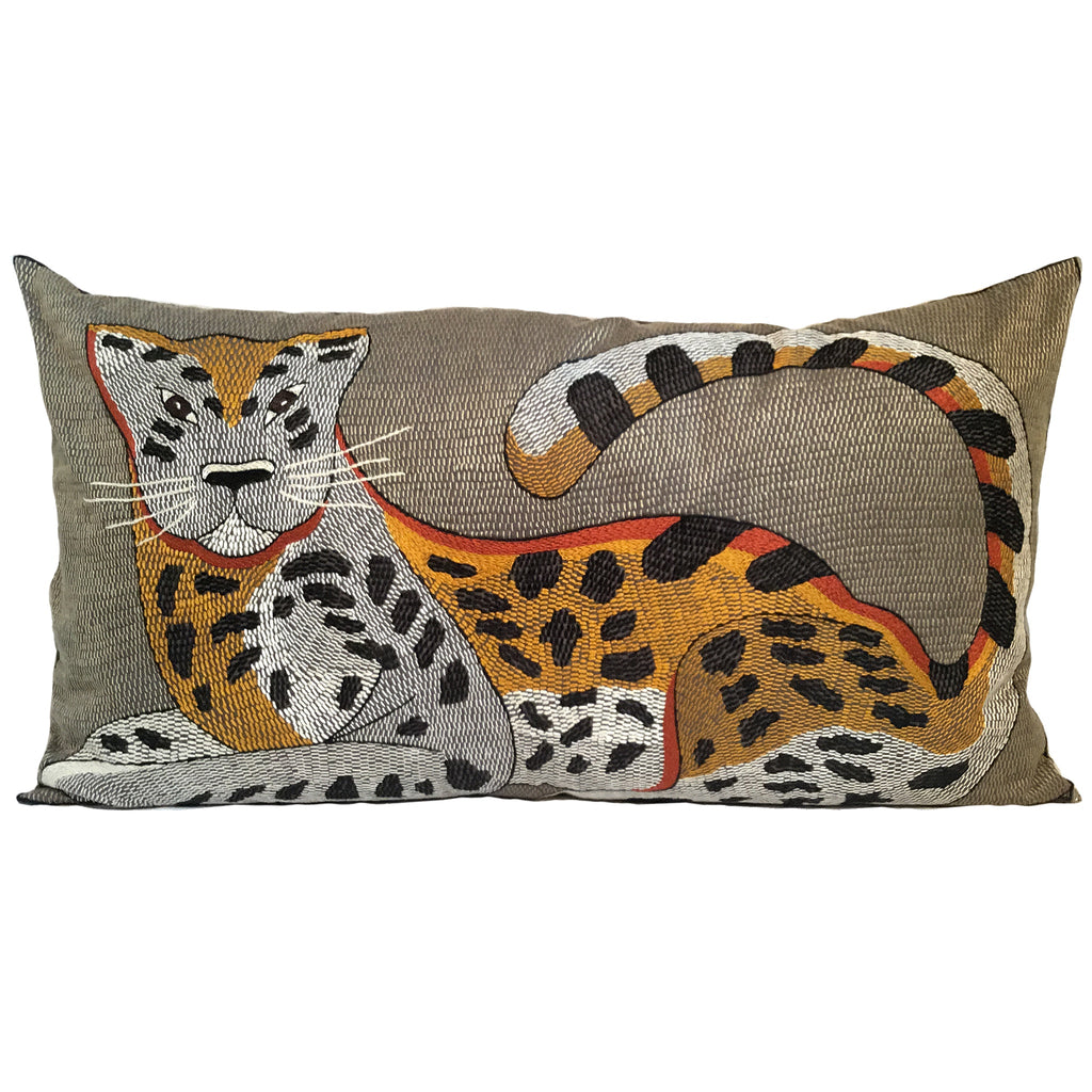 Leopard Hand-Embroidered Cushion Cover