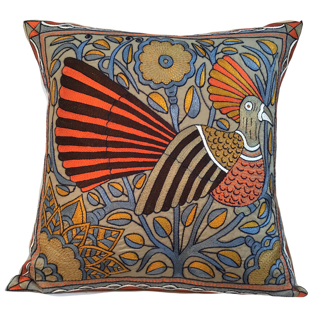 Namib Rust Bird in a Tree Hand-Embroidered Cushion Cover