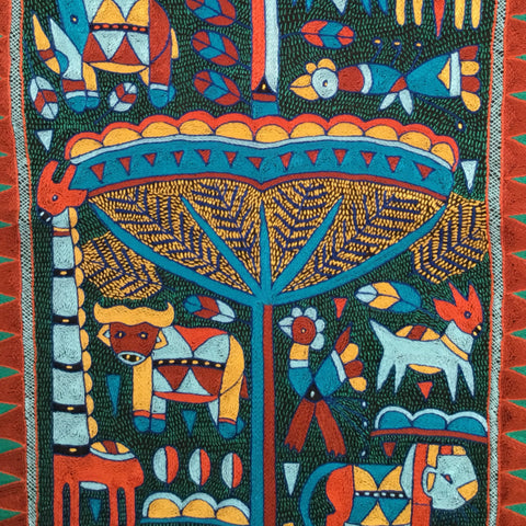 Mozambiquan Jive Animals Embroidered Cloth