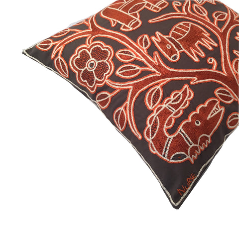 Namib Rust Antelope in Danger Monochrome Cushion Cover