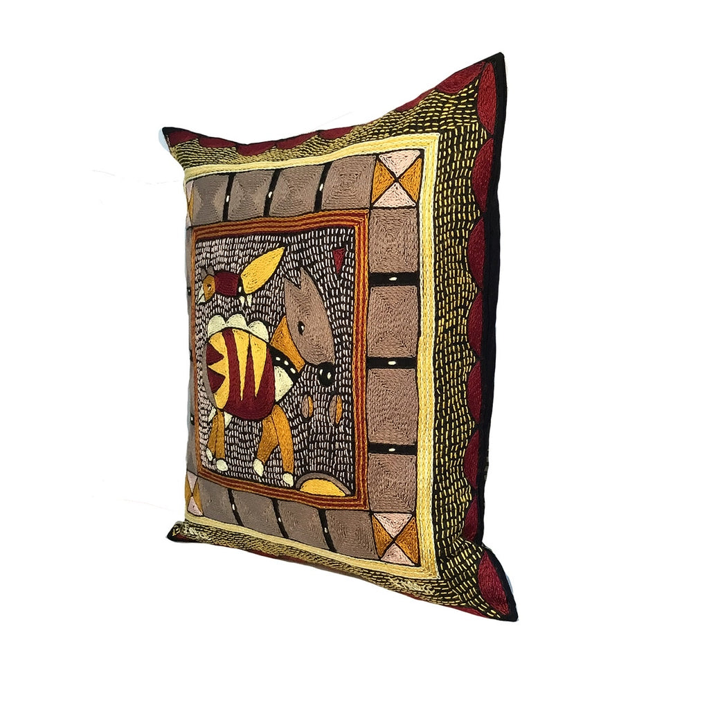 African Dawn Antelope Hand-Embroidered Cushion Cover