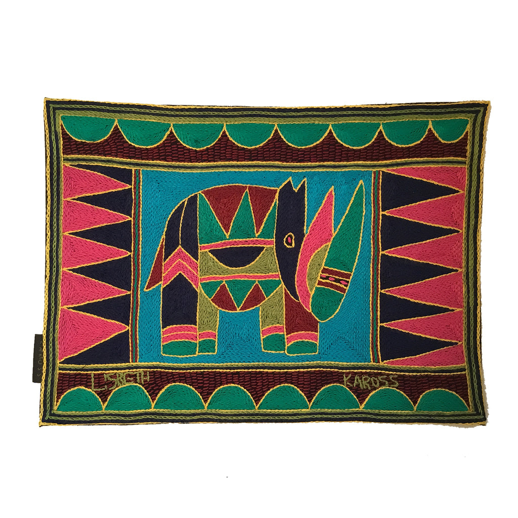 Shangaan Love Rhino Hand-Embroidered Padded Placemat