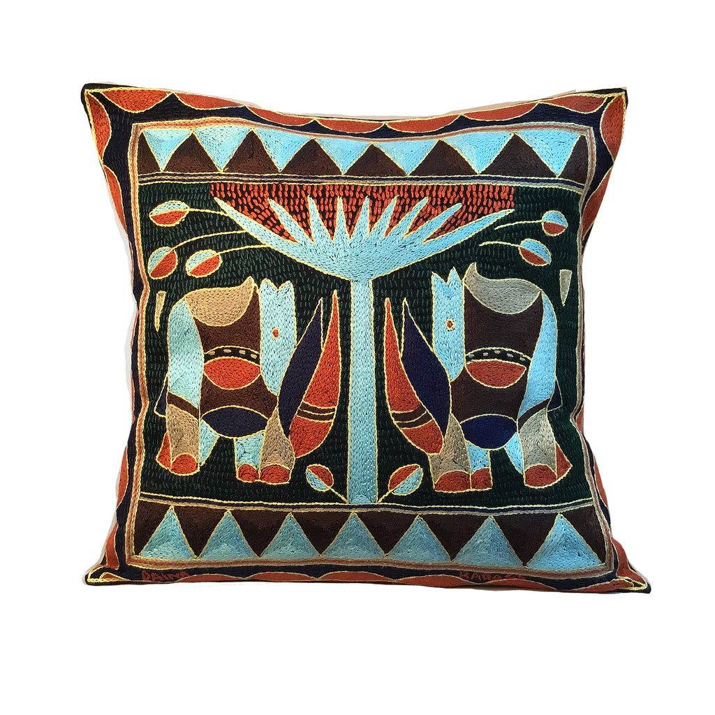 Mopani Moments Rhino pair Hand-Embroidered  Cushion Cover