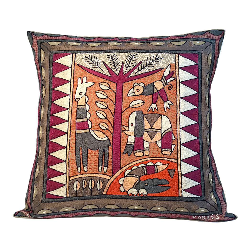 Ruby Sunset Animals by the River Cushion Cover