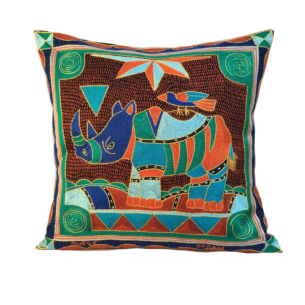 Valencia Rhino Hand-Embroidered Cushion Cover