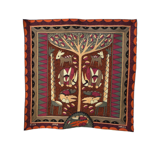 Ruby Sunset Peach Tree Embroidered Cloth