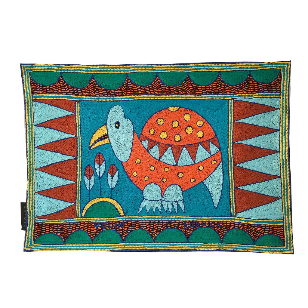 Valencia Guinea Fowl Hand-Embroidered Padded Placemat