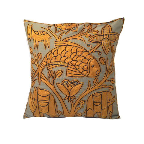 Ode to the African Savannah Flying Fish Monochrome Cushion Cover
