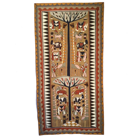 Namib Rust Giraffe Herd Embroidered Cloth