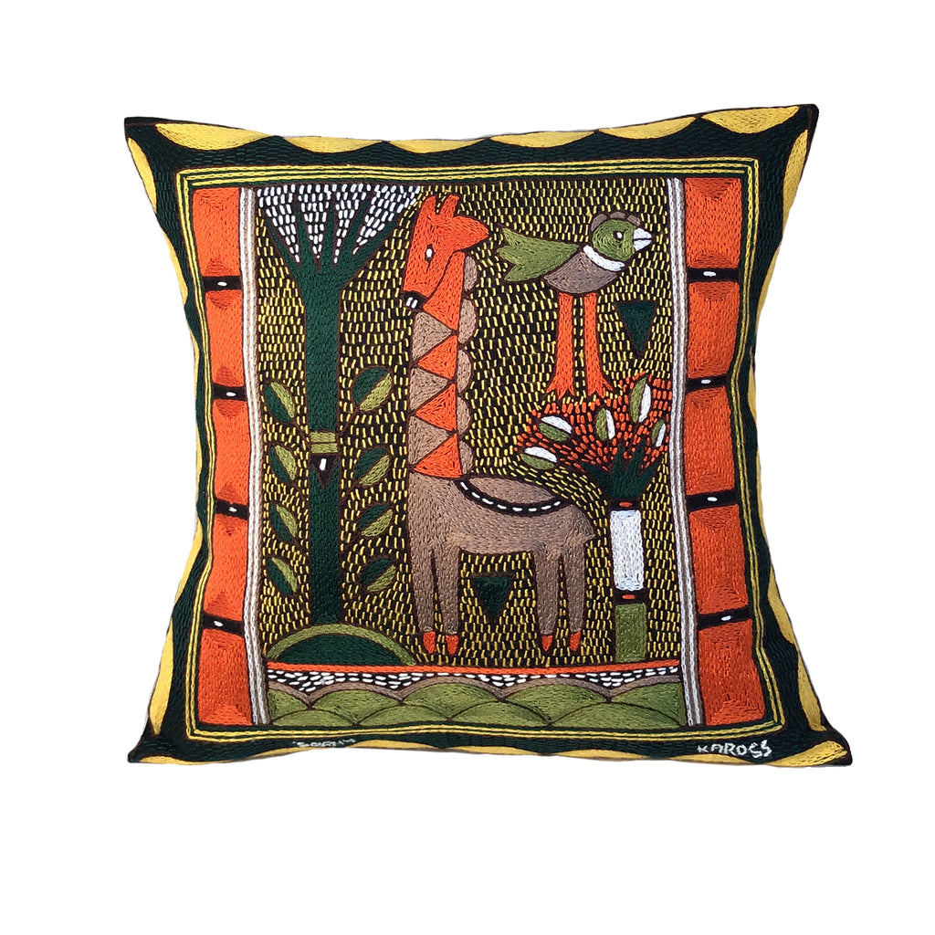 Bushveld Warmth Giraffe Standing Hand-Embroidered Cushion Cover