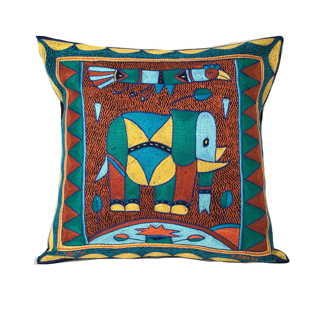 Valencia Elephant and bird Cushion Cover
