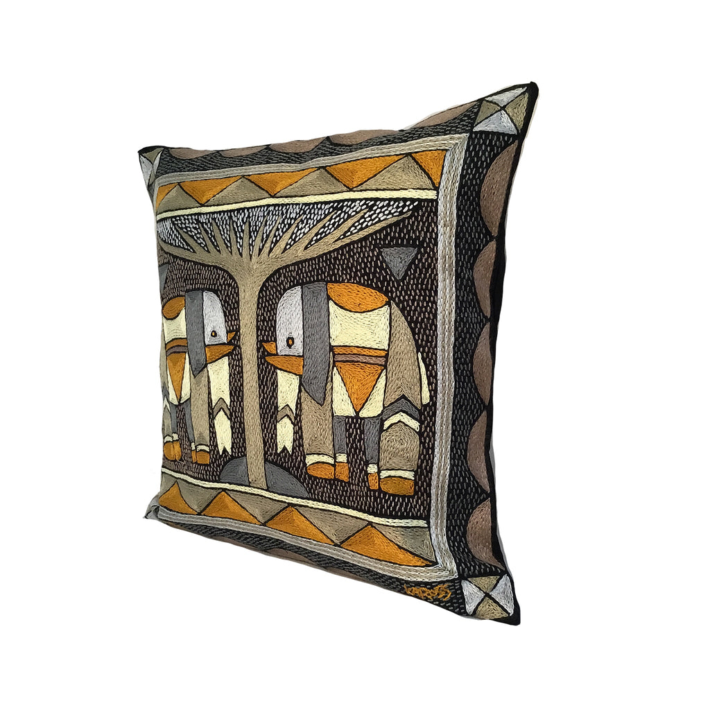 Ode to the African Savannah Elephant pair Cushion Cover