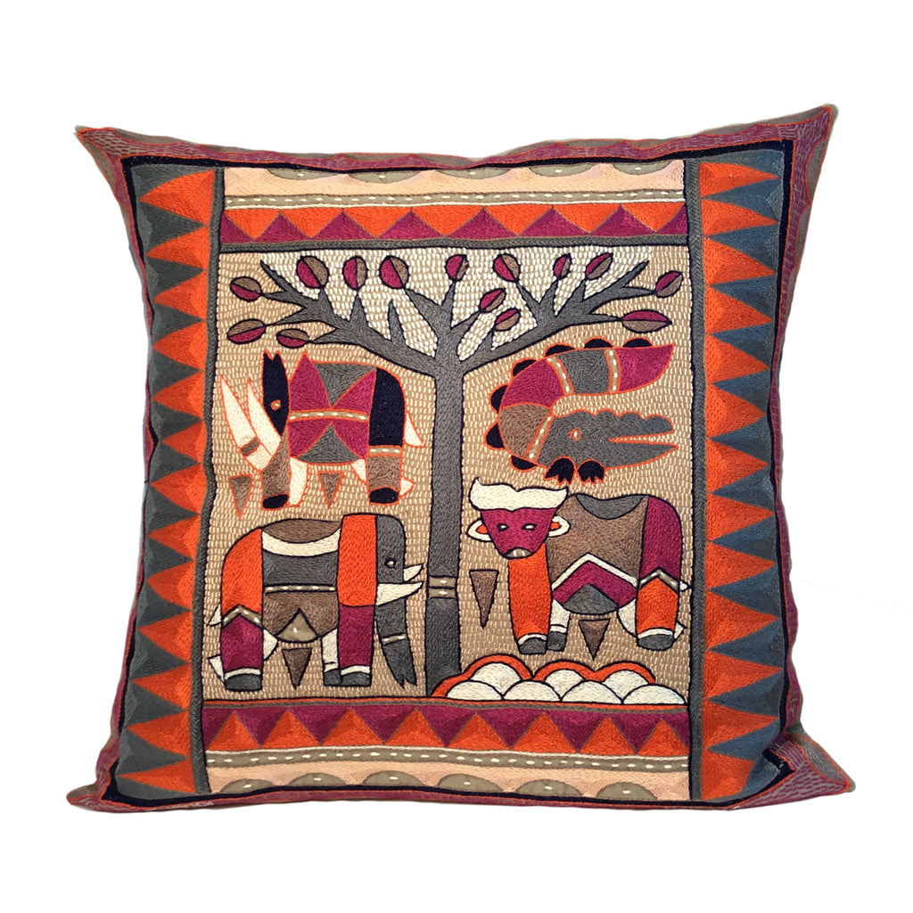 Ruby Sunset Animals under a Thorntree Cushion Cover