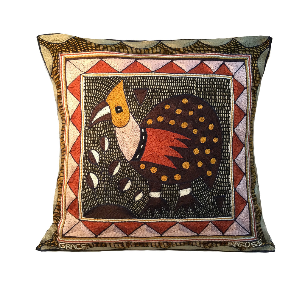 Namib Rust Guinea Fowl Hand-Embroidered Cushion Cover