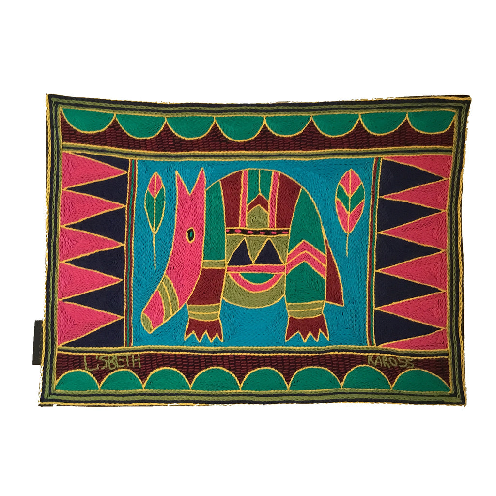 Shangaan Love Anteater Hand-Embroidered Padded Placemat