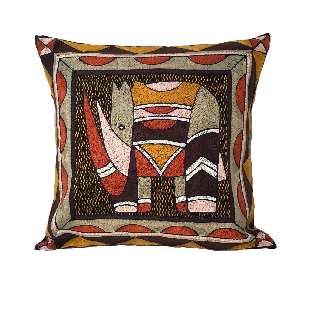 Namib Rust Rhino Hand-Embroidered Cushion Cover